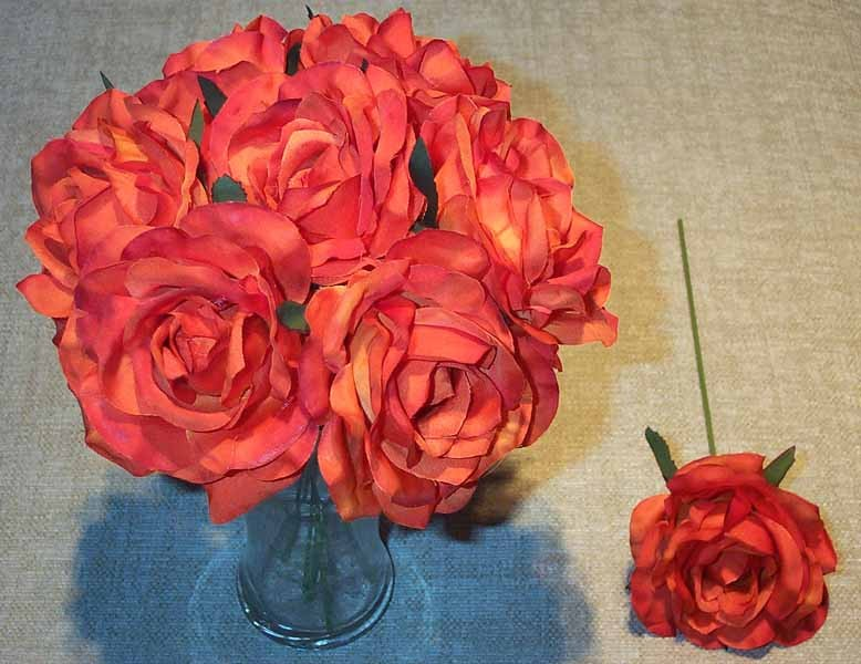 Orange Luxury Silk Open Rose Sample