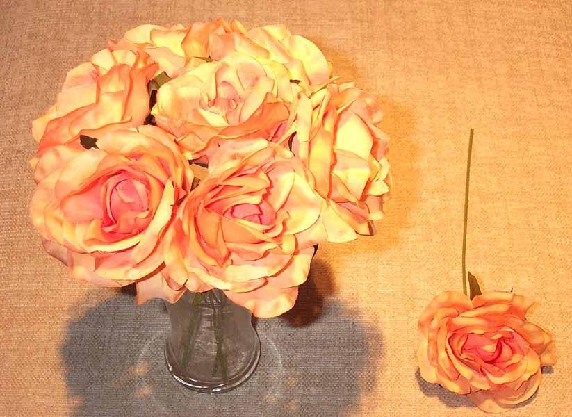 Peach Luxury Silk Open Rose Sample