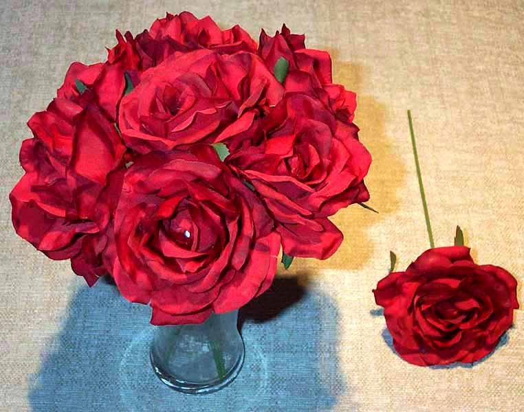 Red Luxury Silk Open Rose Sample