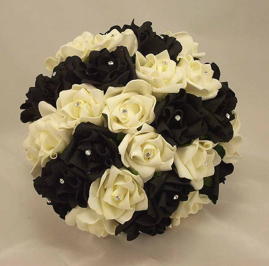 Bridal Bouquets Black White Rose Diamante Bridal Bouquet Silk