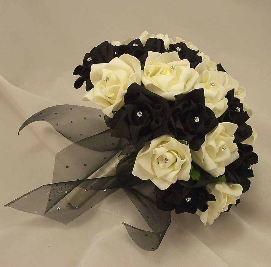 Bridal bouquets black white rose diamante bridal bouquet silk black white rose diamante bridal bouquet izmirmasajfo Choice Image