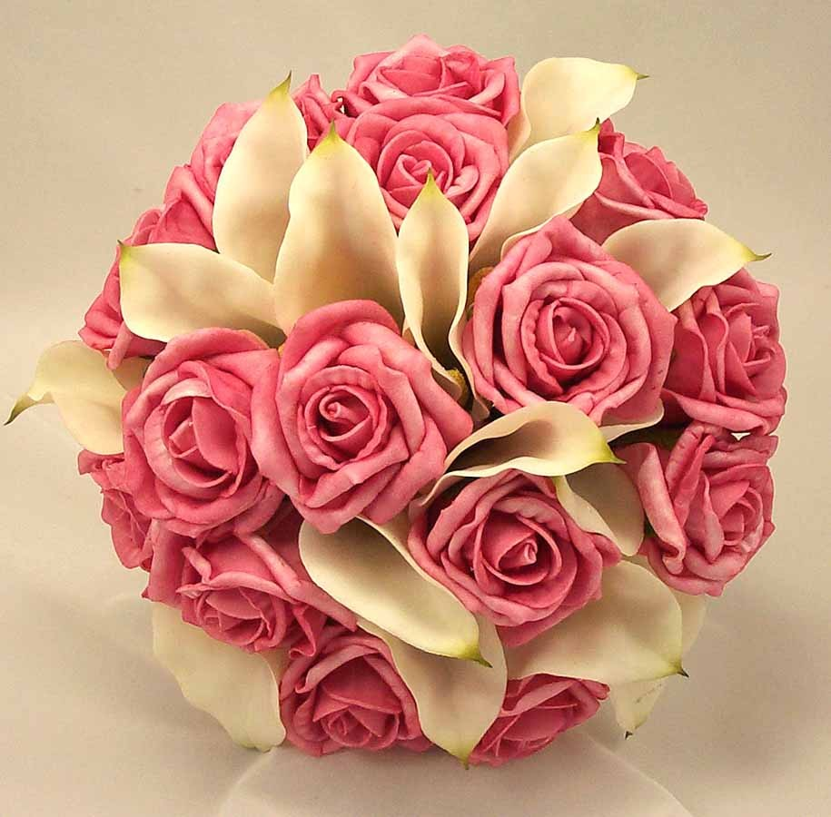 Wedding Flowers Roses And Lilies : Pink rose ivory cala lily bridal bouquet wedding
