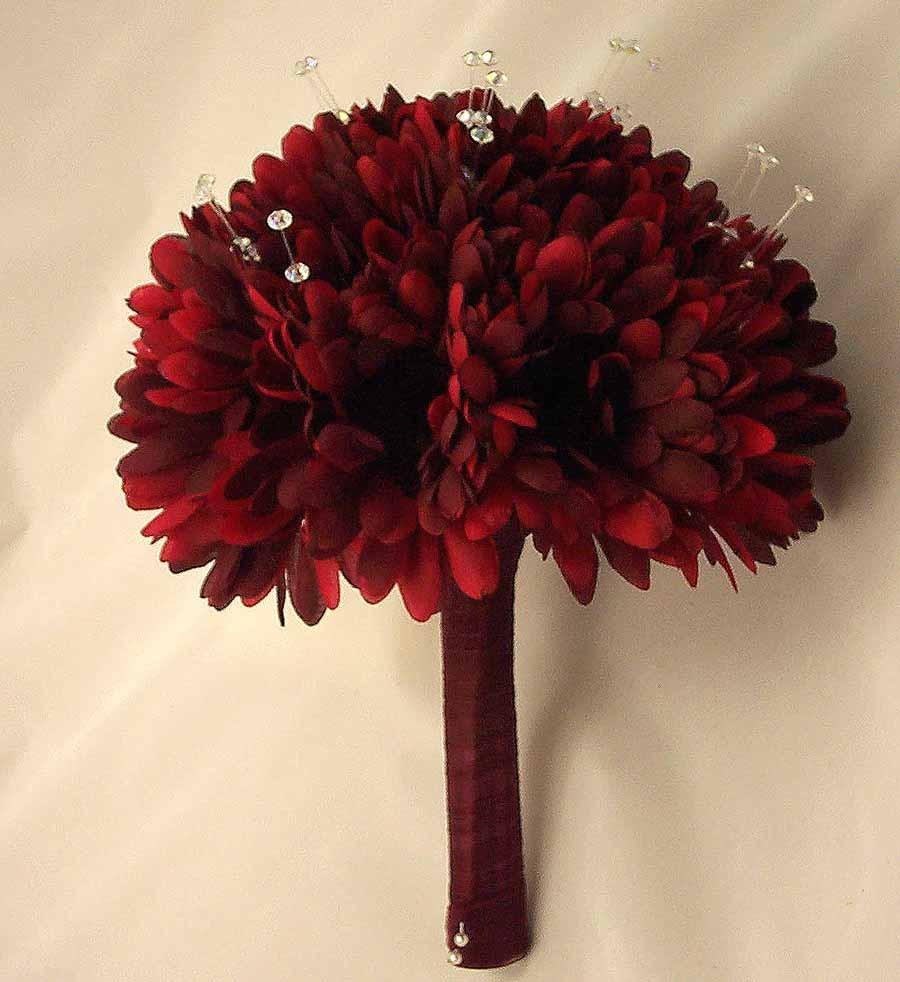 Burgundy Gerbera Crystal Posy Bouquet Bridal Bouquets Silk
