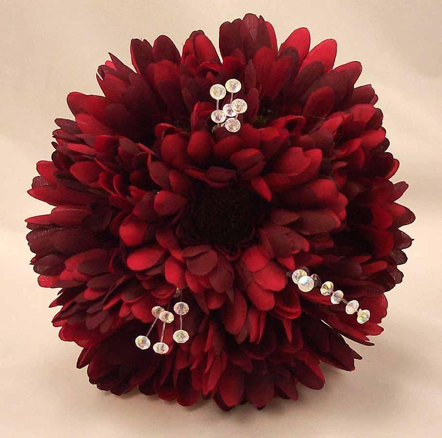 Burgundy Gerbera & Crystal Bridesmaid Bouquet