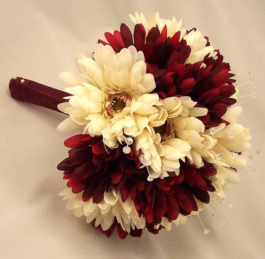 Burgundy Wedding Flower Bouquet: Burgundy & Ivory Gerbera Crystal Posy Bouquet