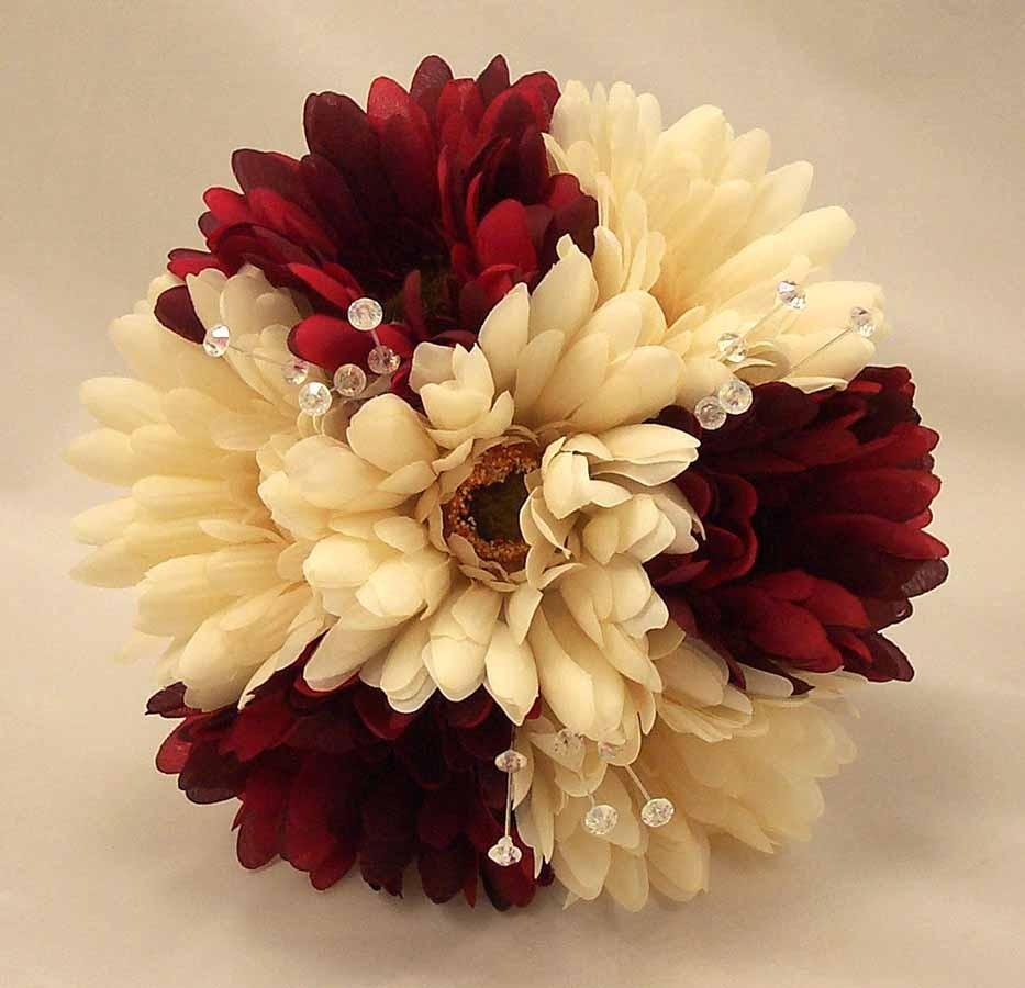 Burgundy & Ivory Gerbera & Crystal Bridesmaid Bouquet