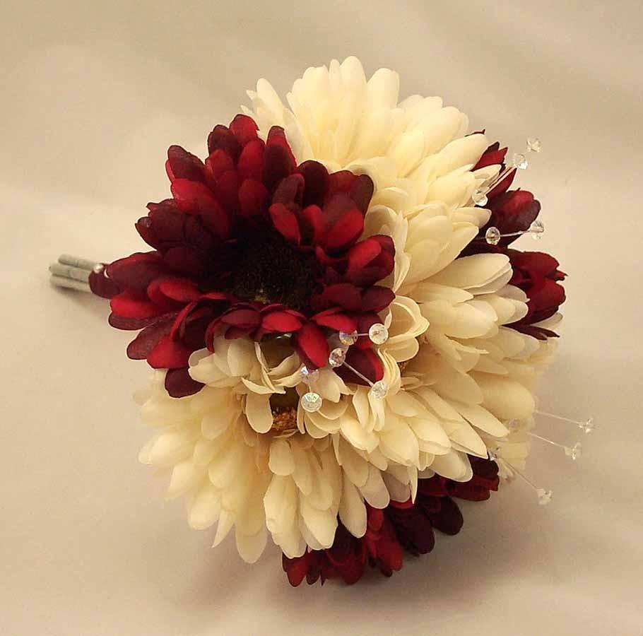 Burgundy ivory gerbera crystal bridesmaid bouquet bridesmaids burgundy ivory gerbera crystal bridesmaid bouquet izmirmasajfo