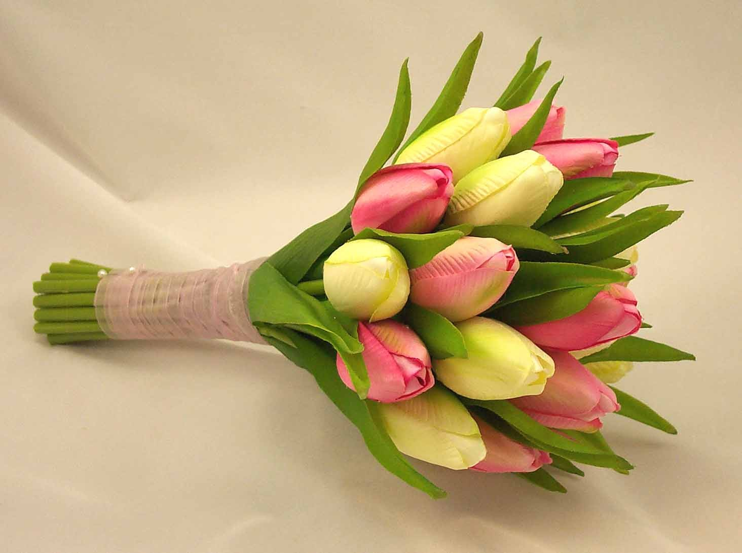 Cream & Pink Tulip Bridesmaid's Posy Bouquet