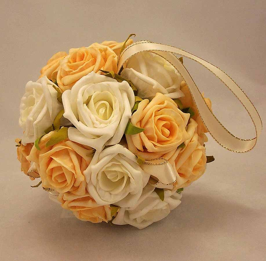 Flowergirl's Ivory & Gold Rose Pomander Ball