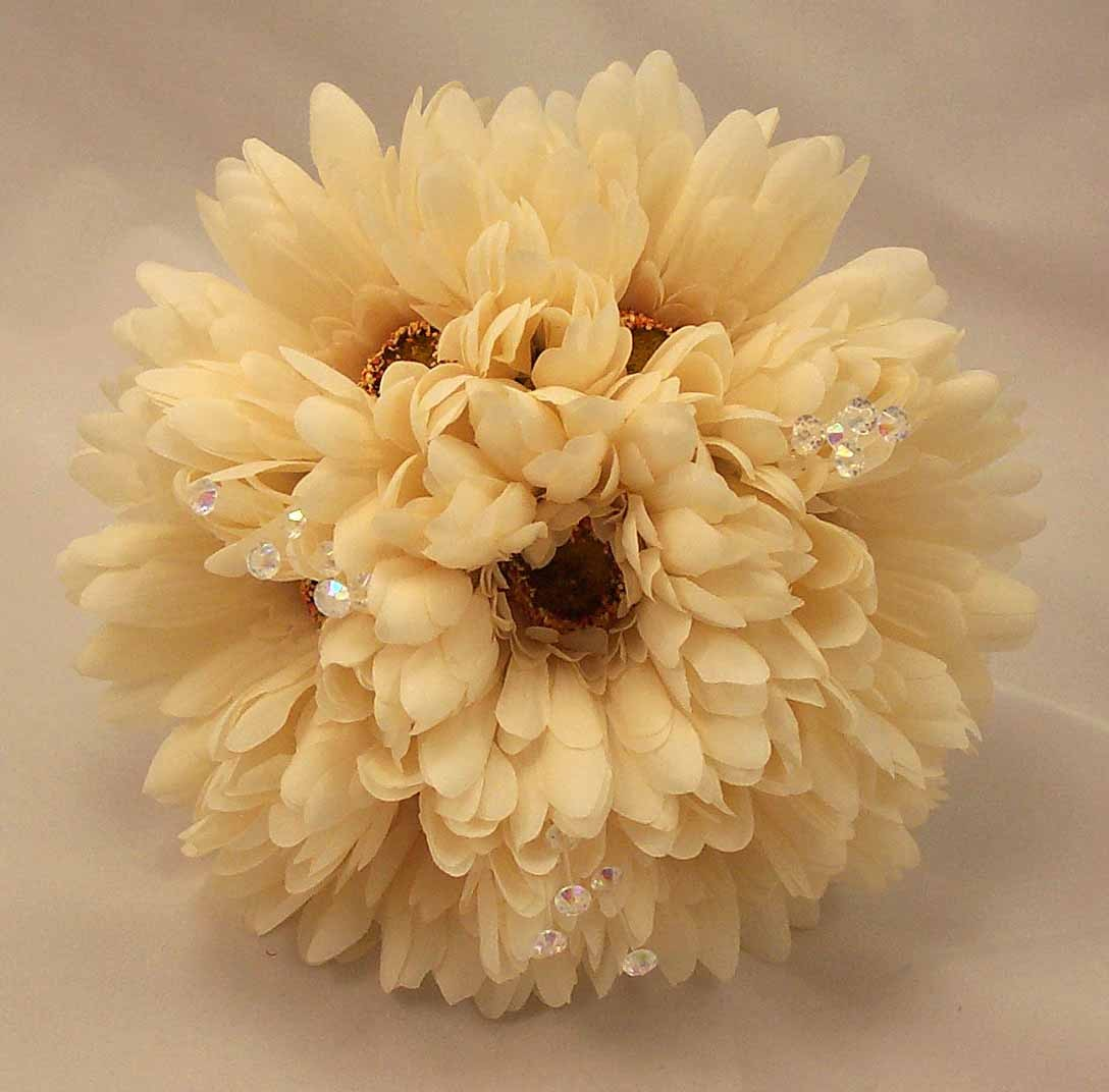 Ivory Gerbera & Crystal Bridesmaid Bouquet