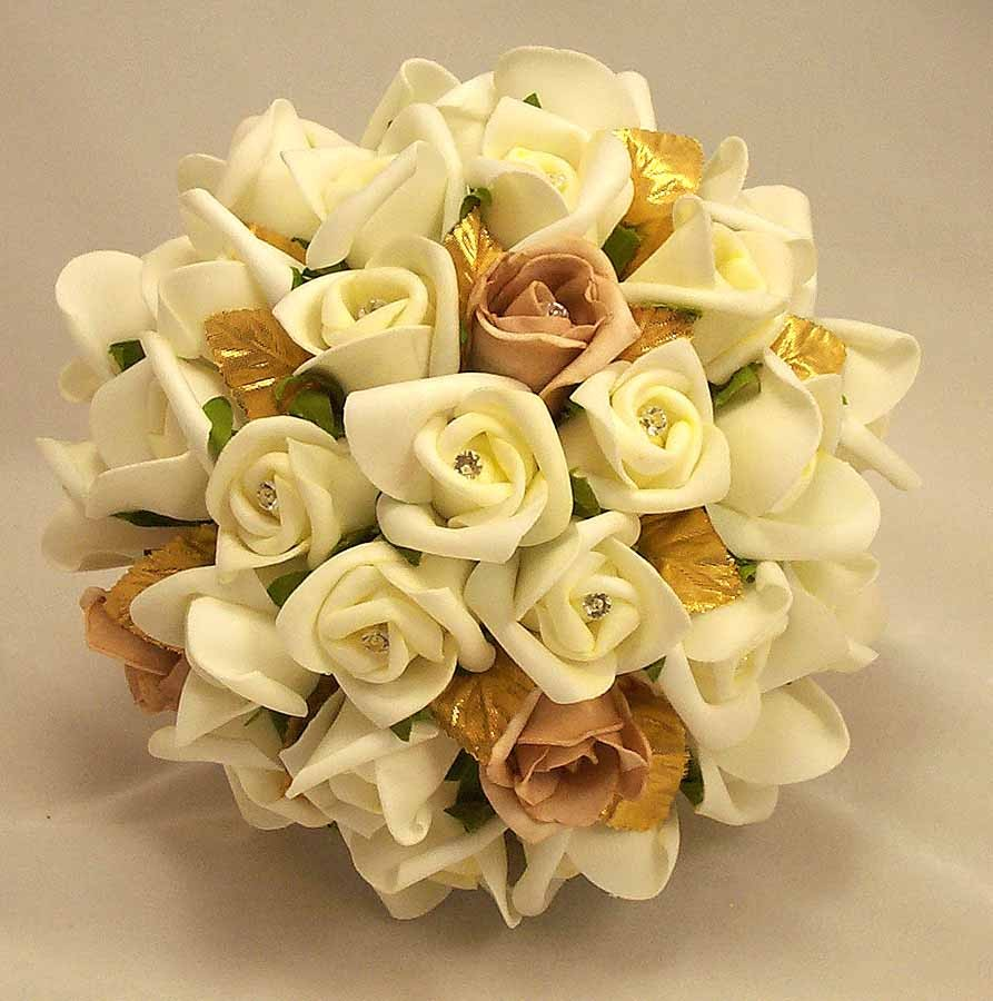 Bridal bouquets ivory rosebud gold leaf bouquet silk wedding ivory rosebud gold leaf bouquet izmirmasajfo