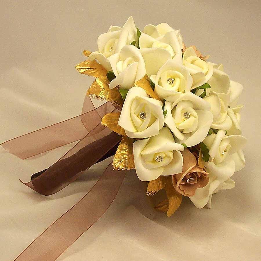 Bridal bouquets ivory rosebud gold leaf bouquet silk wedding ivory rosebud gold leaf bouquet izmirmasajfo Choice Image