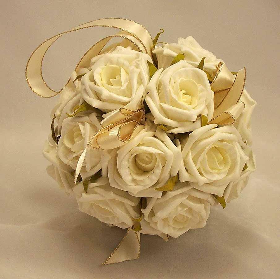 Ivory Flower Ball: Cream Rose Flowergirl's Pomander Ball