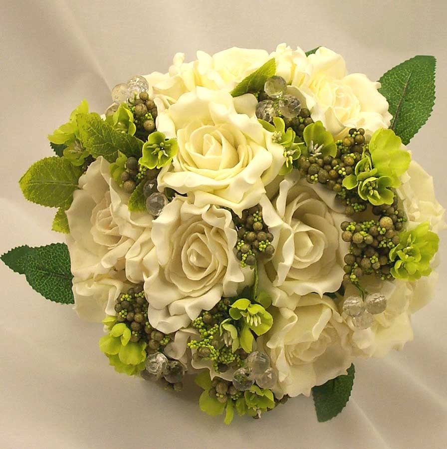 Ivory Open Rose & Bead Posy Bouquet