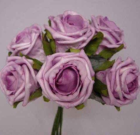 6 Luxury Lilac / Lavender Medium Roses