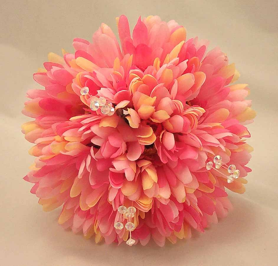 Pink Gerbera & Crystal Bridesmaid Bouquet