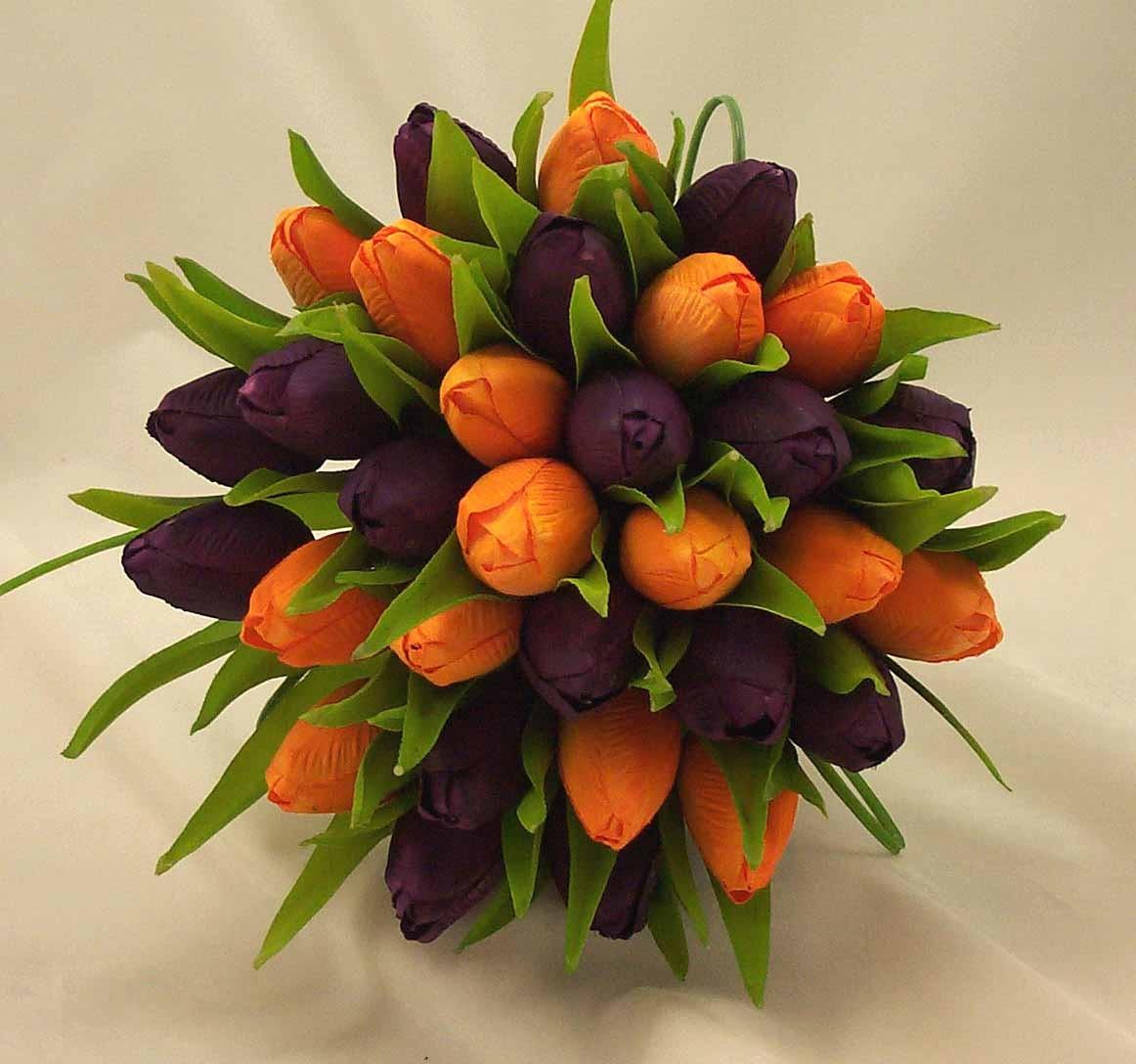 Purple & Orange Tulip Bridal Posy Bouquet - Wedding Bouquets - Silk ...