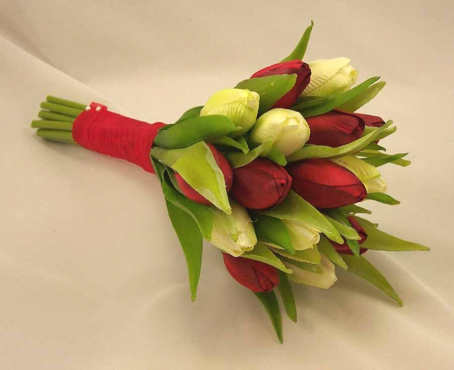 Red & Ivory Tulip Bridesmaid's Posy Bouquet