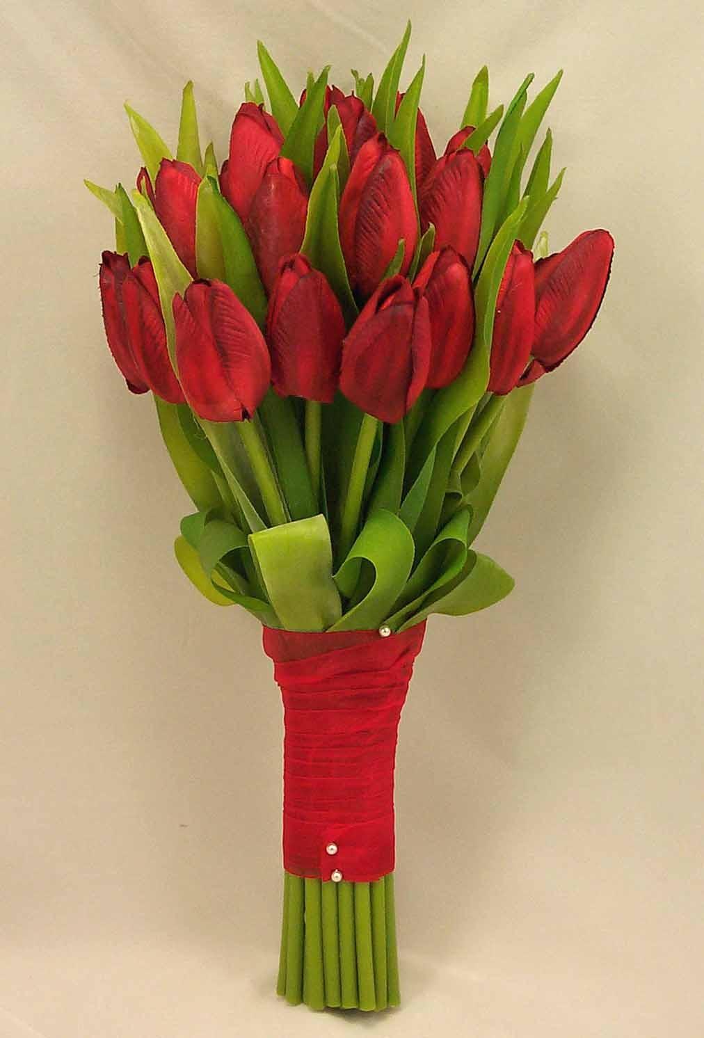 Artificial Tulip Wedding Bouquets : Red tulip bridal posy bouquet wedding bouquets silk