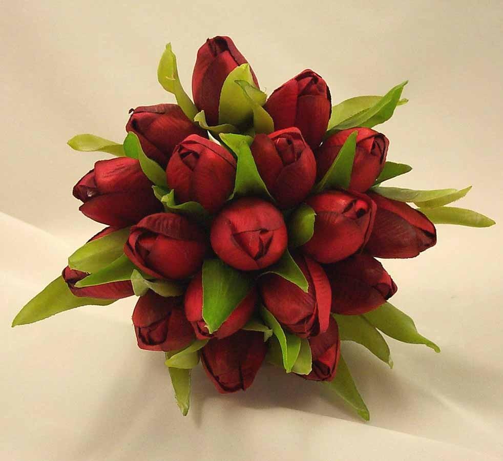 Red Tulip Bridesmaids Posy Bouquet Wedding Bouquets Silk