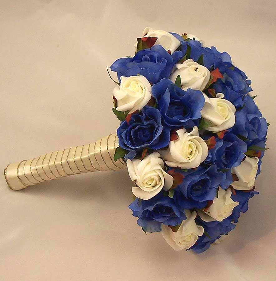 Bridal bouquets royal blue ivory rose bridal bouquet silk royal blue ivory rose bridal bouquet izmirmasajfo