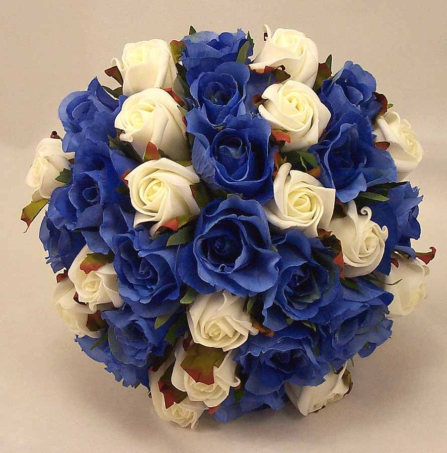 Wedding Bouquets With Blue Flowers: Royal Blue & Ivory Rose Bridal Bouquet