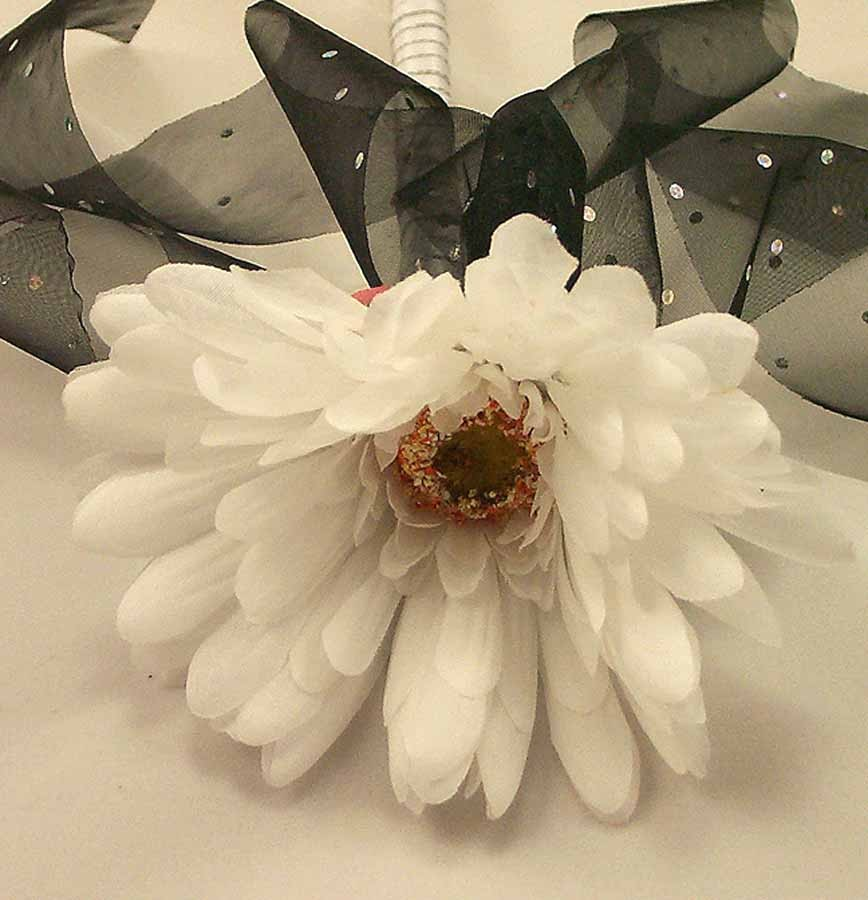 Flowergirl's White & Black Gerbera Wand