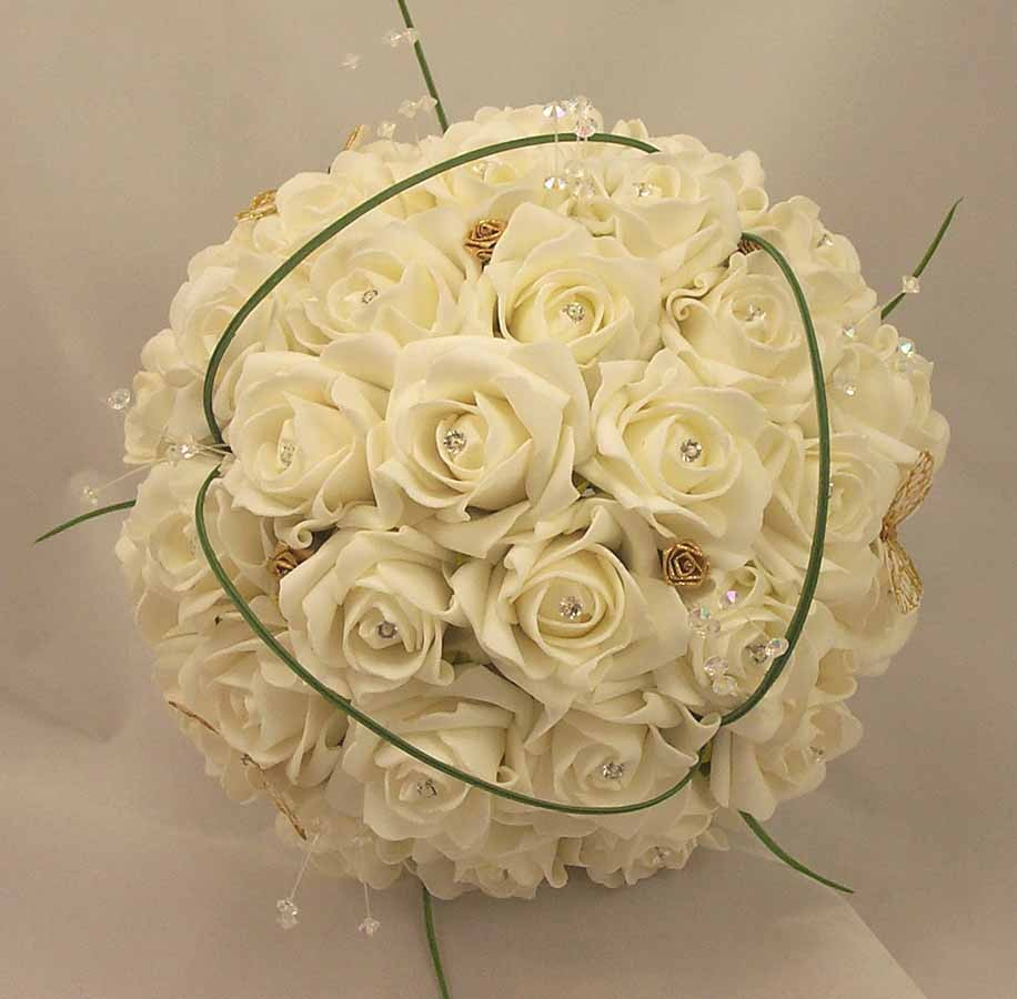 White Diamante Rose & Gold Butterfly Bouquet