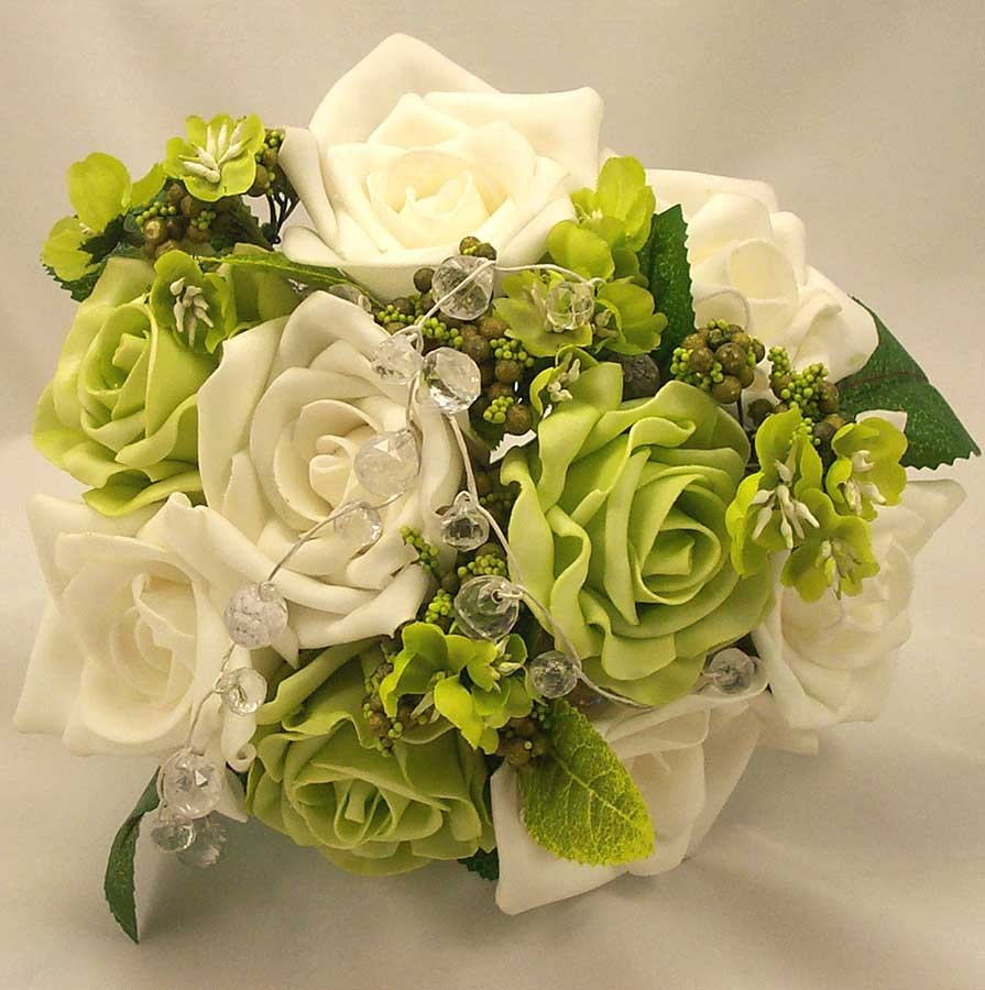 White & Green Rose & Bead Posy Bouquet