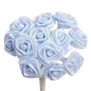 Baby Blue Satin Ribbon Roses