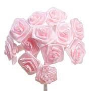 Baby Pink Satin Ribbon Roses