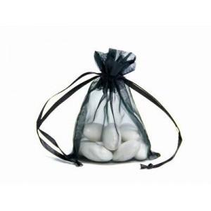 10 Black Organza Wedding Favour Bags