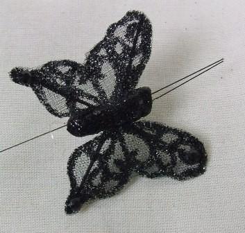 Black Sheer Organza Butterflies