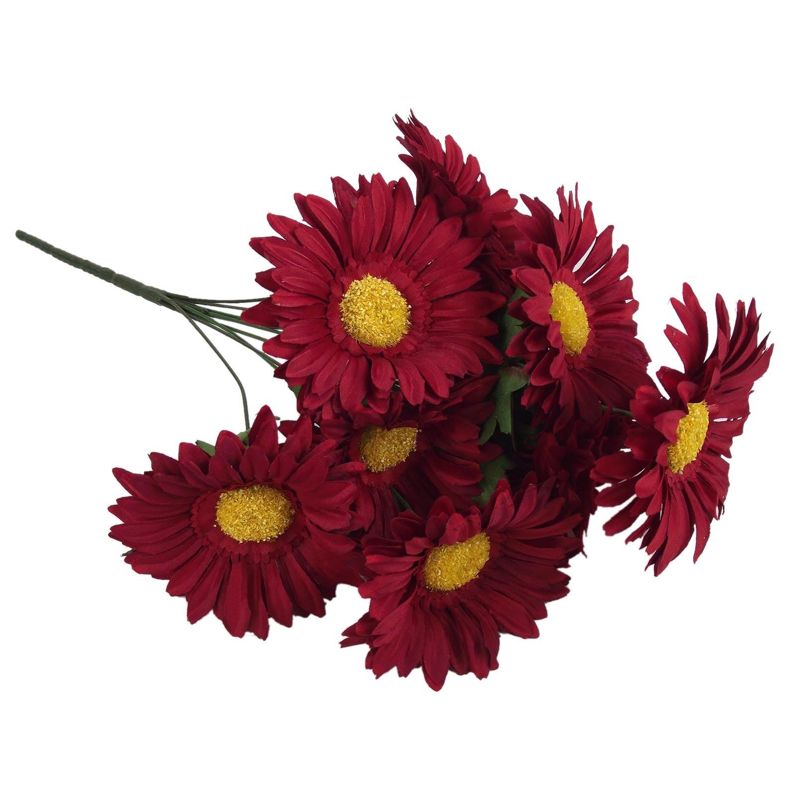 Loose Flowers 6 Silk Burgundy Gerbera Daisies Artificial Silk Wedding Flowers