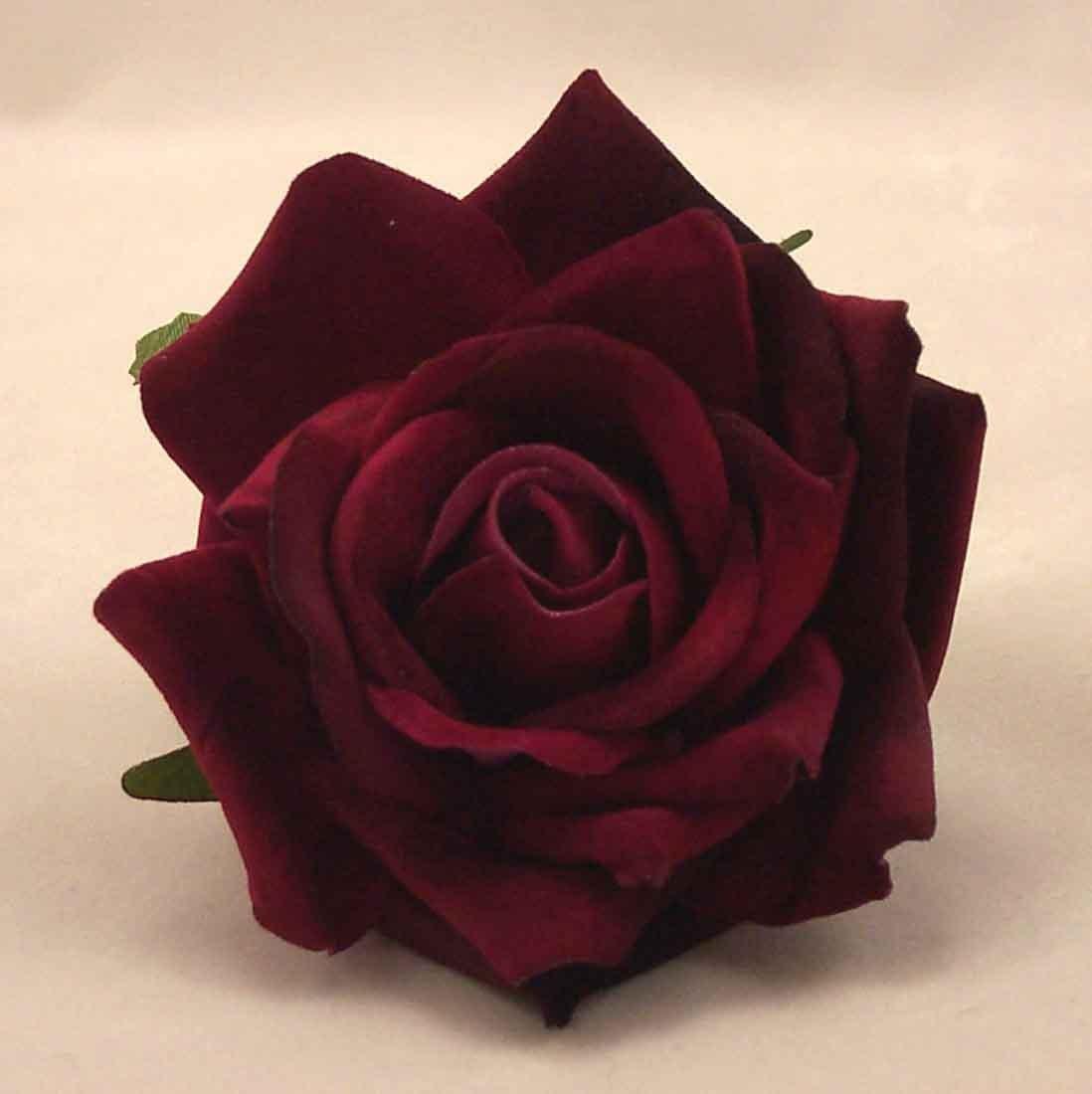 6 Luxury Burgundy Medium Velvet Roses