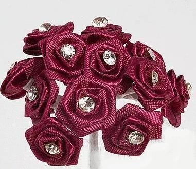 Burgundy Diamante Ribbon Roses