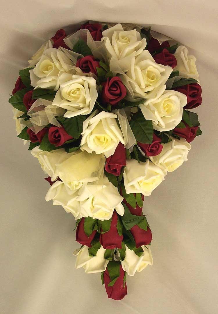 Burgundy & Ivory Rose Organza Shower Bouquet