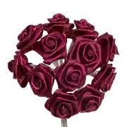 Burgundy Satin Ribbon Roses