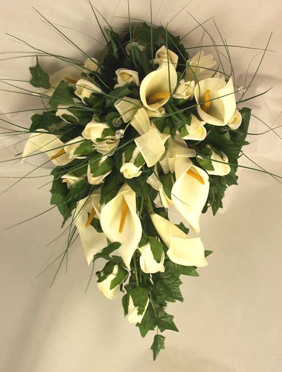 White Cala Lily & Organza Ribbon Shower Bouquet