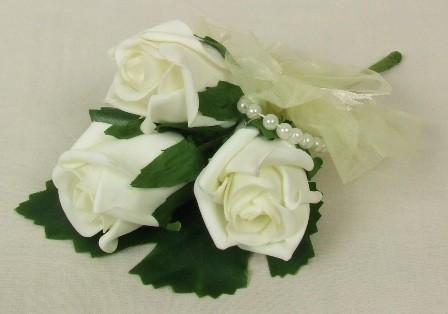 Ivory Triple Rose & Ribbon Corsage