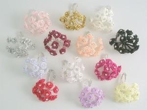 Plum Diamante Ribbon Roses