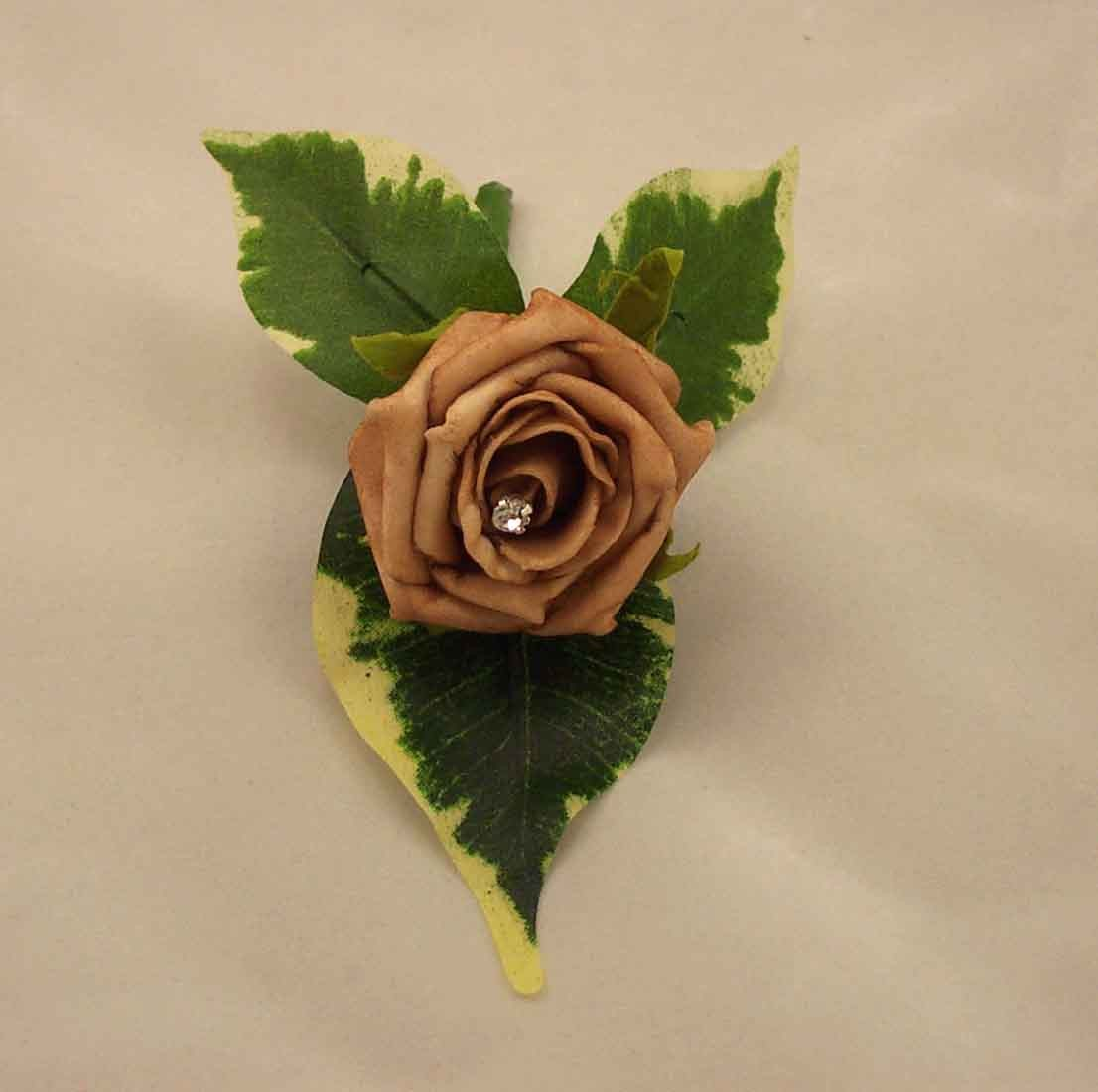 Mocha Rose Diamante Buttonhole
