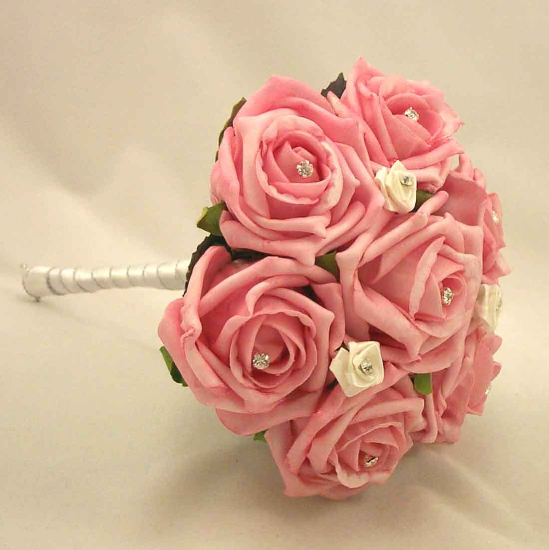 Pink Rose Diamante Children's Posy