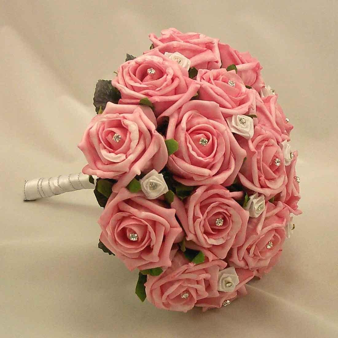 Bridal Bouquets Pink Rose Diamante Posy Bouquet Silk Wedding Flowers