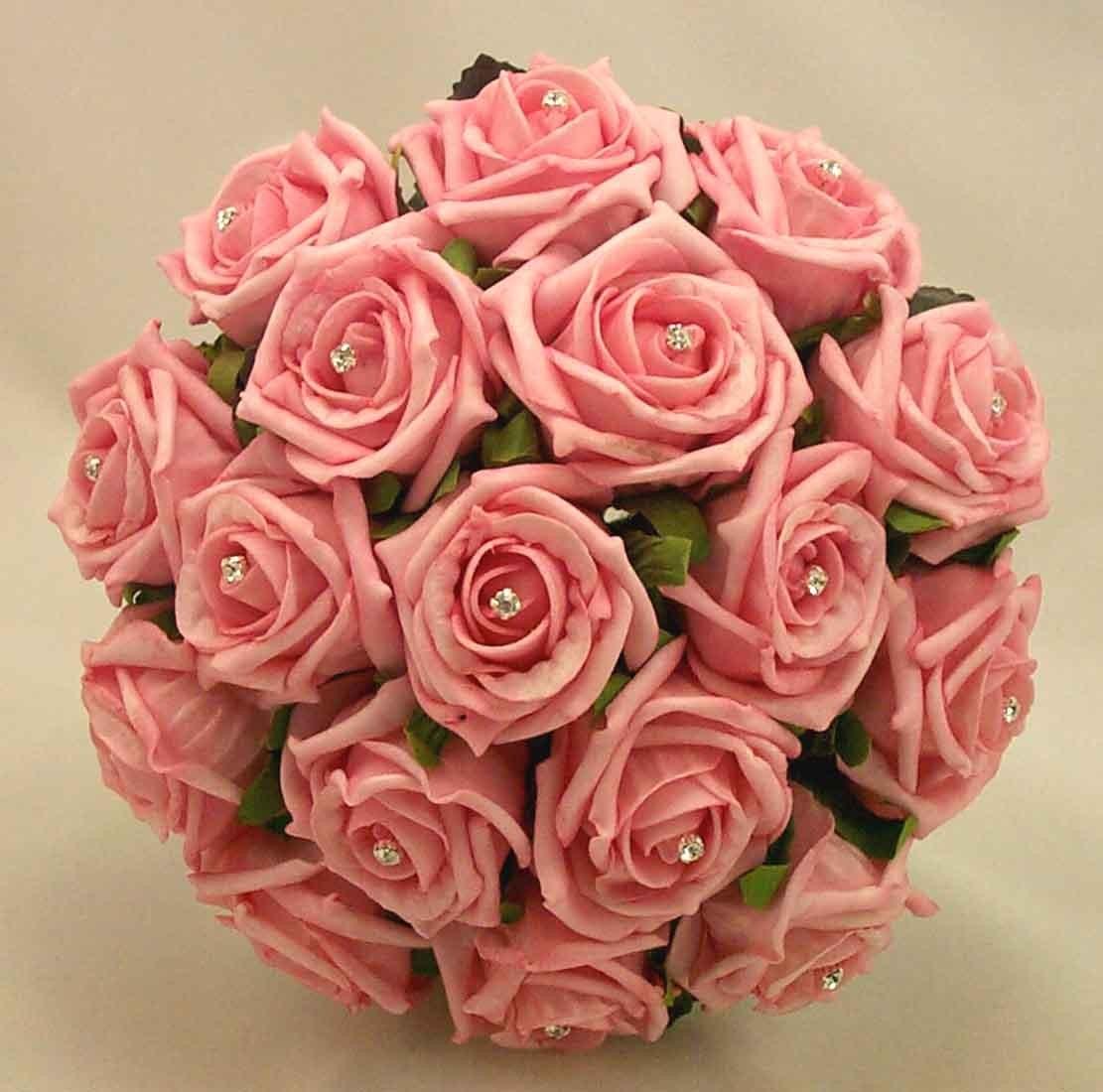 Pink Rose Diamante Bridesmaid's Bouquet