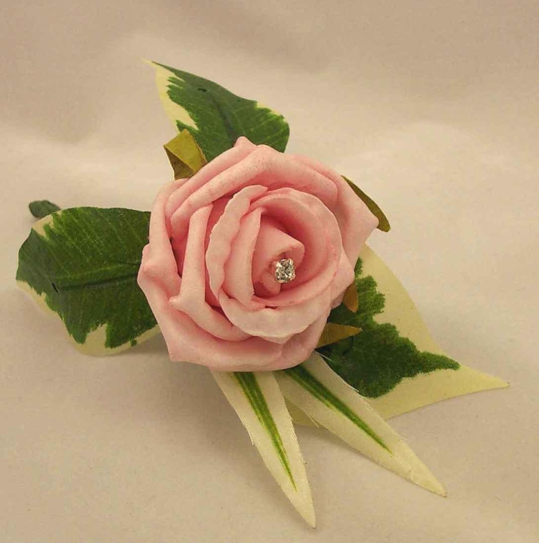 Pink Rose Diamante Buttonhole
