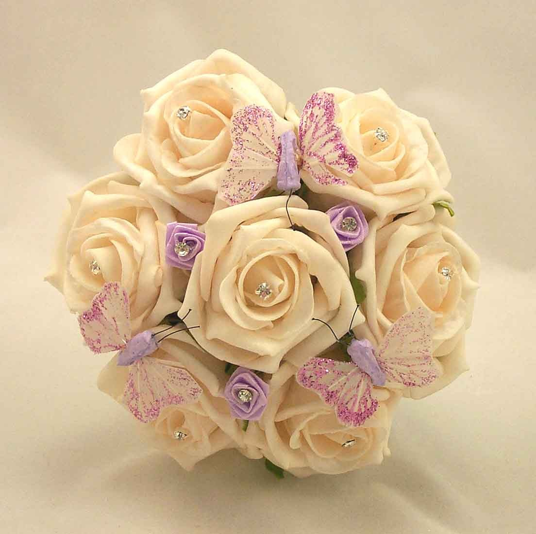 Cream Rose & Lilac Butterfly Posy