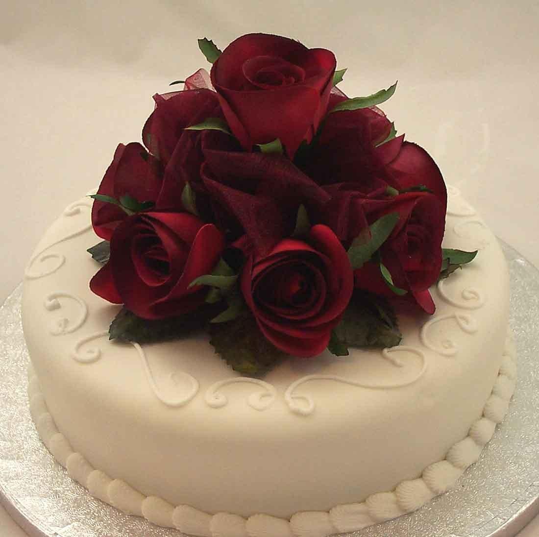Cake Decorations Burgundy Rose Organza Cake Topper Silk Wedding