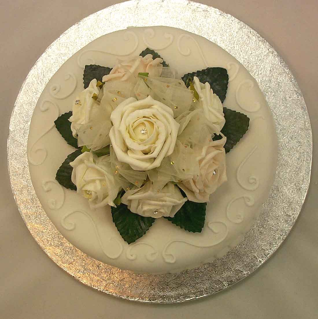 Cream Rose Diamante Organza Cake Topper