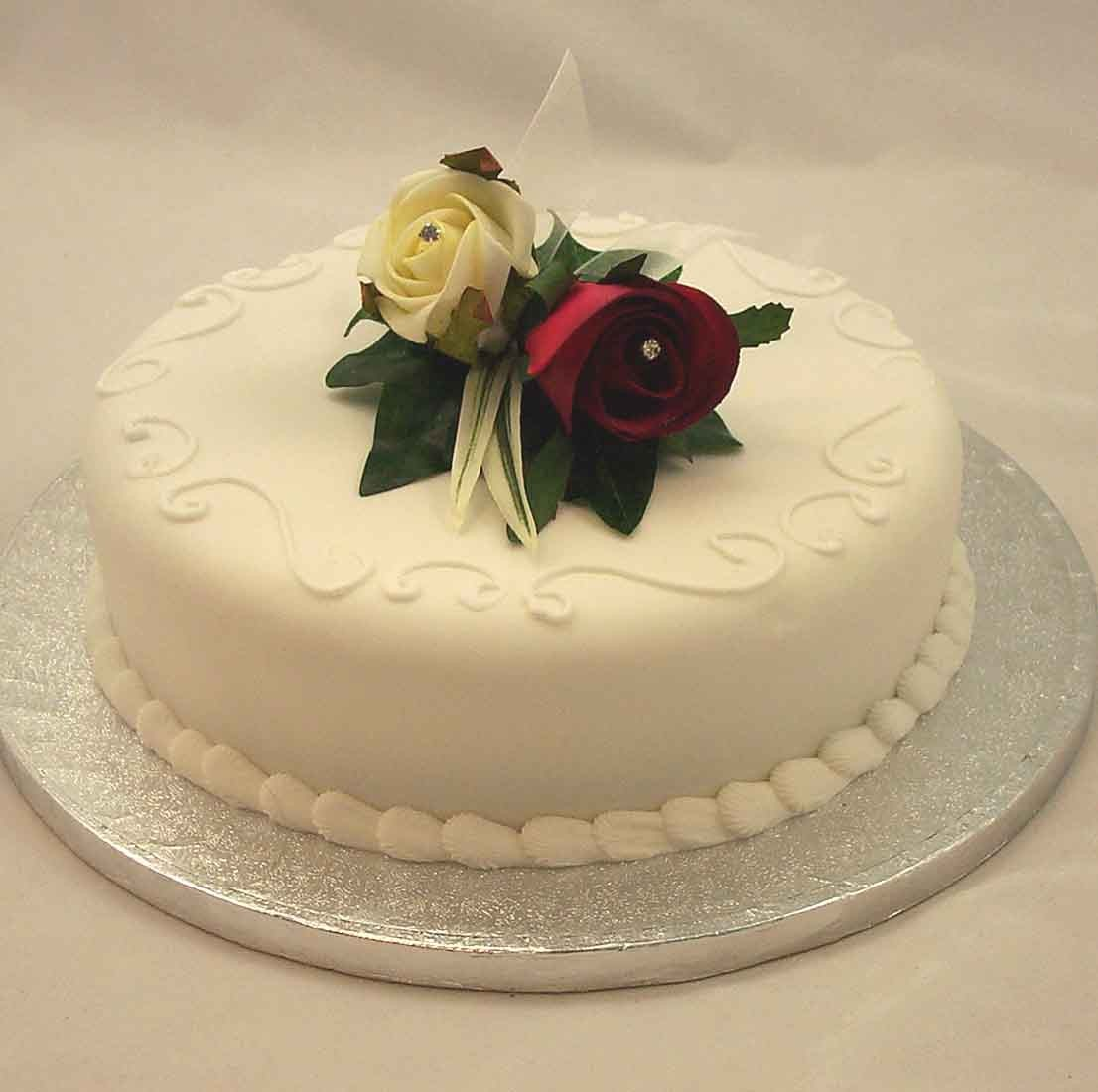 Burgundy & Ivory Rose Corsage Cake Topper